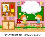 boy and girl in the classroom... | Shutterstock .eps vector #342991190