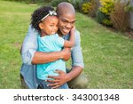 smiling father hugging his... | Shutterstock . vector #343001348