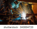 welder and bright sparks.... | Shutterstock . vector #343004720
