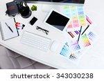 working place of designer ...   Shutterstock . vector #343030238