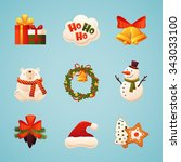 christmas icons set with... | Shutterstock .eps vector #343033100