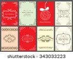 christmas vector vintage cards... | Shutterstock .eps vector #343033223