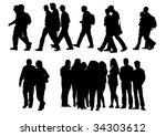 drawing people to walk.... | Shutterstock . vector #34303612