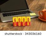 good luck written on a wooden... | Shutterstock . vector #343036160