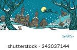 vector illustration. winter ... | Shutterstock .eps vector #343037144
