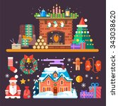 cozy new year and christmas set ... | Shutterstock .eps vector #343038620