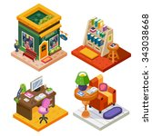 isometric book related set ... | Shutterstock .eps vector #343038668