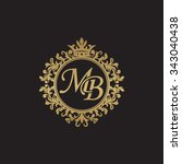 mb initial luxury ornament... | Shutterstock .eps vector #343040438