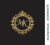 mk initial luxury ornament... | Shutterstock .eps vector #343040474