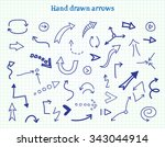 hand drawn arrows. doodle... | Shutterstock .eps vector #343044914
