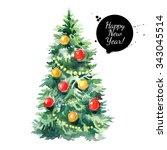 watercolor christmas tree... | Shutterstock . vector #343045514