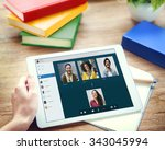 video call facetime chatting... | Shutterstock . vector #343045994