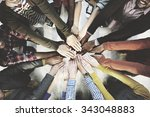 team teamwork togetherness... | Shutterstock . vector #343048883