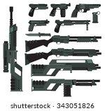 futuristic sci fi weapons | Shutterstock .eps vector #343051826