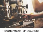 barista cafe making coffee... | Shutterstock . vector #343060430