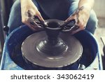 person creation pottery... | Shutterstock . vector #343062419