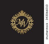 mw initial luxury ornament... | Shutterstock .eps vector #343066010