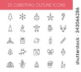 christmas icons. holiday new... | Shutterstock .eps vector #343066286