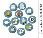 modern flat design icon set for ... | Shutterstock . vector #343070084