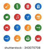party flat icons for media | Shutterstock .eps vector #343070708