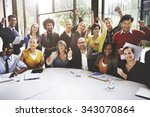 Small photo of Business Team Success Achievement Arm Raised Concept