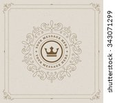 luxury logo template flourishes ... | Shutterstock .eps vector #343071299