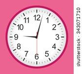 Pink Analogue Clock .vector...
