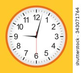Orange Analogue Clock .vector...