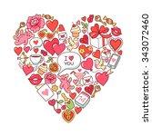 heart symbol of st. valentine... | Shutterstock .eps vector #343072460