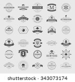 Retro Vintage Logotypes or insignias set. Vector design elements, business signs, logos, identity, labels, badges, apparel, shirts, ribbons, stickers and other branding objects. | Shutterstock vector #343073174