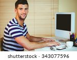 handsome hipster working at... | Shutterstock . vector #343077596