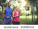 activity cardio cheerful couple ... | Shutterstock . vector #343089410