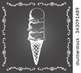 chalk ice cream cone of three... | Shutterstock .eps vector #343091489
