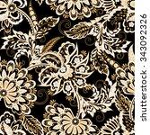 ethnic flowers seamless vector... | Shutterstock .eps vector #343092326