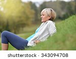 senior woman in fitness outfit... | Shutterstock . vector #343094708
