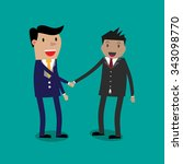 two cartoon businessmen shaking ... | Shutterstock .eps vector #343098770