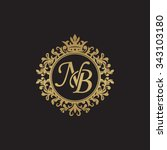 nb initial luxury ornament... | Shutterstock .eps vector #343103180