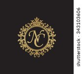 nc initial luxury ornament...   Shutterstock .eps vector #343103606