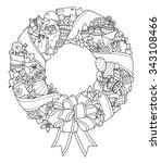 Christmas Wreath. Doodle...