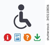 disabled sign icon. human on... | Shutterstock .eps vector #343110836