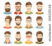 flat icons collection of... | Shutterstock .eps vector #343120118
