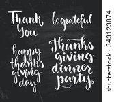 happy thanksgiving lettering... | Shutterstock .eps vector #343123874