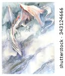 White Dragon Watercolor Painting