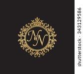 nn initial luxury ornament...   Shutterstock .eps vector #343129586