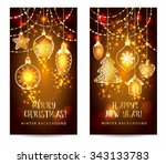 christmas toys on dark...   Shutterstock .eps vector #343133783