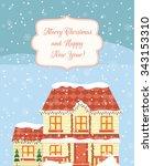 christmas greeting card design... | Shutterstock .eps vector #343153310