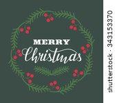 merry christmas vector... | Shutterstock .eps vector #343153370