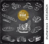 vector set of bread and bakery... | Shutterstock .eps vector #343160624