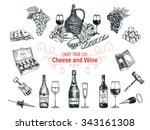 vector set of vine and cheese... | Shutterstock .eps vector #343161308