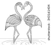 Hand Drawn Flamingo Couple...